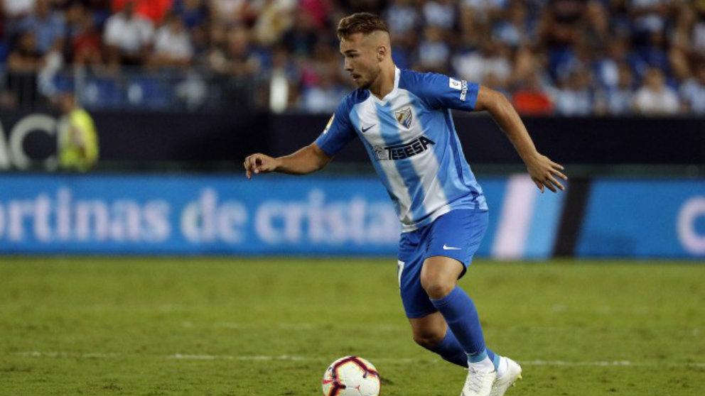 Javi Ontiveros con el Málaga (Málaga Club de Fútbol)