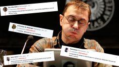 Juan Carlos Monedero y algunas de las respuestas que ha recibido a su tuit en el que acusa de antipatriotas a los que compran por internet.