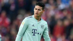James Rodríguez, en uno de sus últimos partidos con el Bayern (AFP).