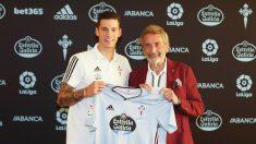 Santi Mina con Carlos Mouriño (Real Club Celta)