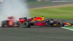 Vettel se llevó por delante a Verstappen en Silverstone.