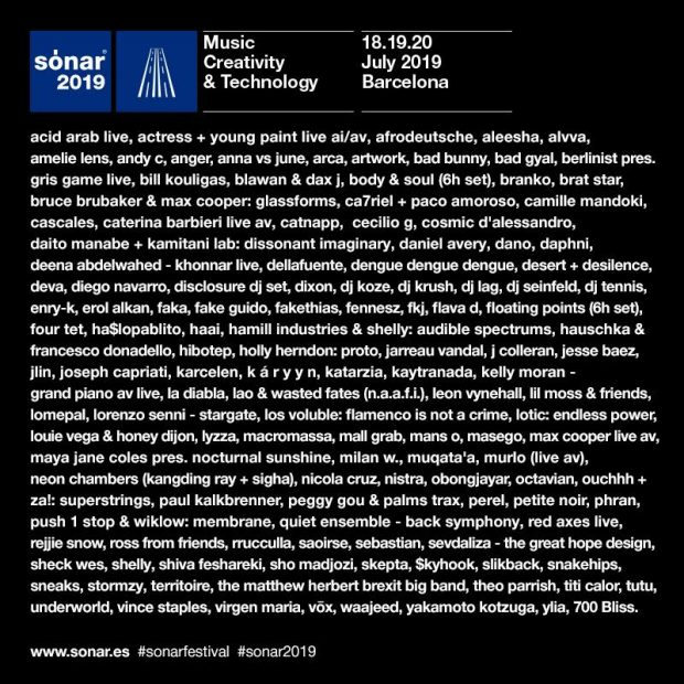Cartel completo de Sónar 2019: todo los artistas que actuarán en la 26ª edición del festival.