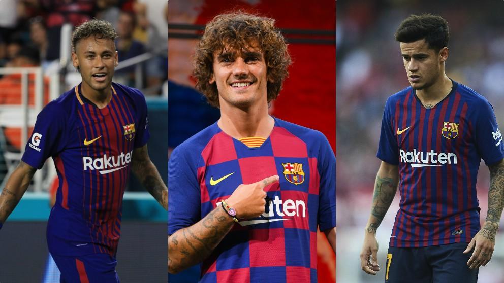 Neymar, Griezmann y Coutinho.