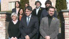 Algunos de los miembros del 'Consejo por la república': la ex consejera Clara Ponsatí; el ex presidente de la Generalitat Carles Puigdemont; el ex consejero Toni Comín; el líder de Demòcrates, Antoni Castellà y la presidenta de la ANC, Elisenda Paluzie. (Foto: Europa Press)