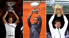 Federer-en-Australia-2018;-Nadal-en-París-y-Djokovic-en-Londres,-este-año,-en-sus-más-recientes-éxitos-en-Grand-Slams (Getty)