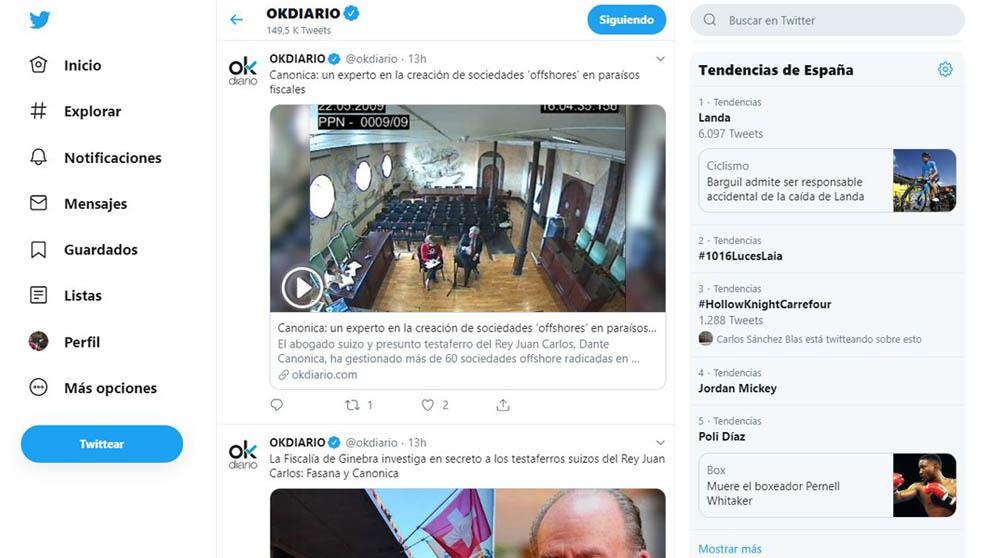Así se ve en el escritorio la versión mobile de Twitter estrenada hace algunas fechas.