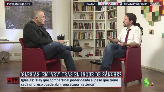 Pablo Iglesias, entrevistado este martes por 'Al Rojo Vivo' en su despachazo del Congreso. (Imagen: La Sexta)
