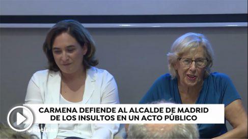 Manuela Carmena defiende a Almeida ante una periodista que le llama «carapolla».