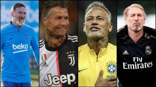 Así serían de viejos las estrellas del fútbol: Messi, Cristiano, Neymar, Ramos…