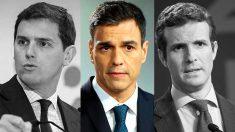 Albert Rivera, Pedro Sánchez y Pablo Casado