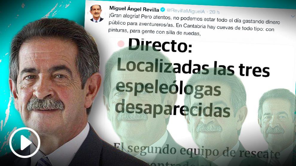 El tuit de Miguel Ángel Revilla sobre las espeleólogas rescatadas.