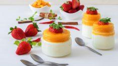Gelatina de yogur con mango