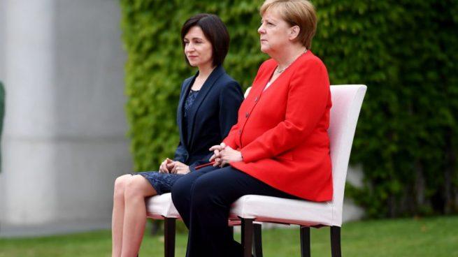 Angela Merkel, canciller alemana con la primera ministra de Moldavia @Getty