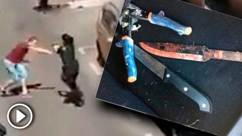El cuchillo con el que el agresor intentó apuñalar a la joven policía.