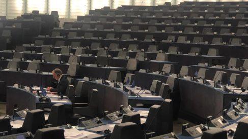 El Parlamento Europeo prácticamente vacío.