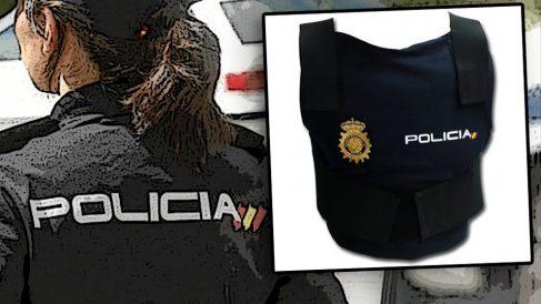 Una agente de Policía y un chaleco reglamentario.