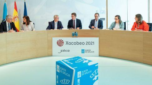 Alberto Núñez Feijóo en la reunión de su Gobierno celebrada hoy.