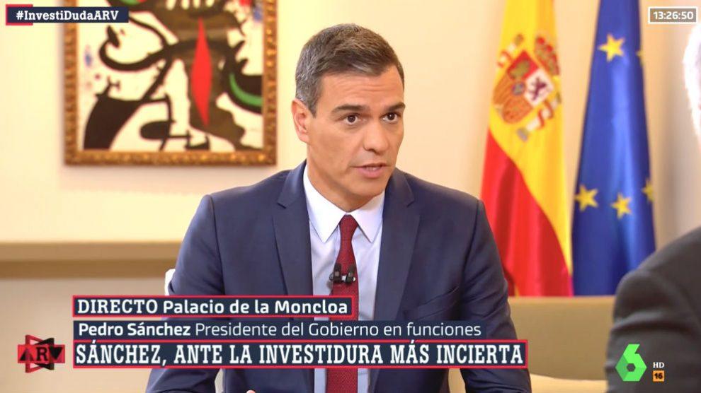 Pedro Sánchez durante su entrevista en 'Al Rojo Vivo' de La Sexta