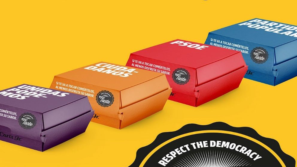 La cadena de hamburgueserías, Carl's Jr., ha lanzado una campaña con la que aoscia una hamburguesa de su carta a cada uno de los cinco partidos políticos más representados en España  (Foto: Carl's Jr.)