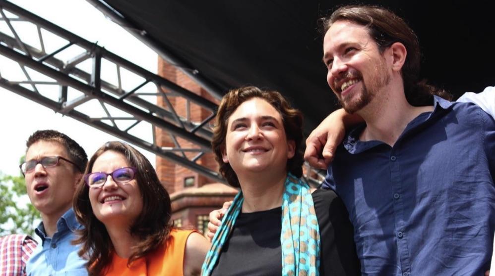 Íñigo Errejón, Mónica Oltra, Ada Colau y Pablo Iglesias (Foto. EP)