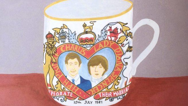 Ilustración de la taza de la boda de Lady Di y Carlos de Inglaterra del nuevo libro de Brianda Fitz-James Stuart. @BriandaFitzJames