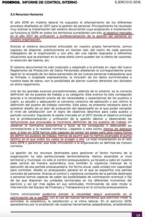 Extracto del informe de control de Podemos. (Clic para ampliar)