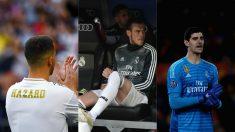 Eden Hazard, Gareth Bale y Thibaut Courtois.