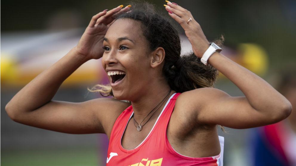 María Vicente tras proclamarse campeona de Europa sub-20 de heptatlón. (Getty)