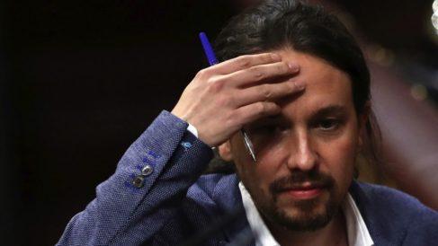 El líder de Podemos, Pablo Iglesias, en el Congreso. (Foto. EFE)