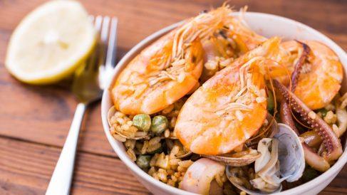 Receta de Paella de arroz, pulpo y gambas