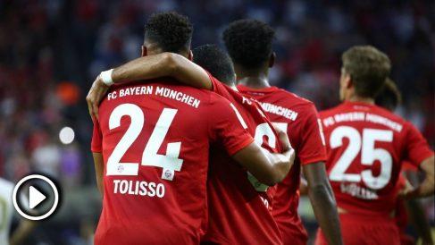 Los jugadores del Bayern celebran el gol de Tolisso frente al Real Madrid.