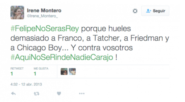 La futura vicepresidenta Montero amenazó al Rey con