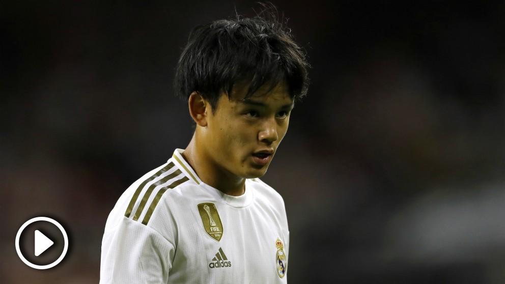 Kubo, durante el partido contra el Bayern. (AFP)