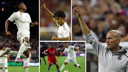 Rodrygo,-Kubo,-Hazard-y-Zidane-durante-el-estreno-del-Real-Madrid-en-la-International-Champions-Cup-(Fotos-Afp-y-Web-oficial-del-Real-Madrid)