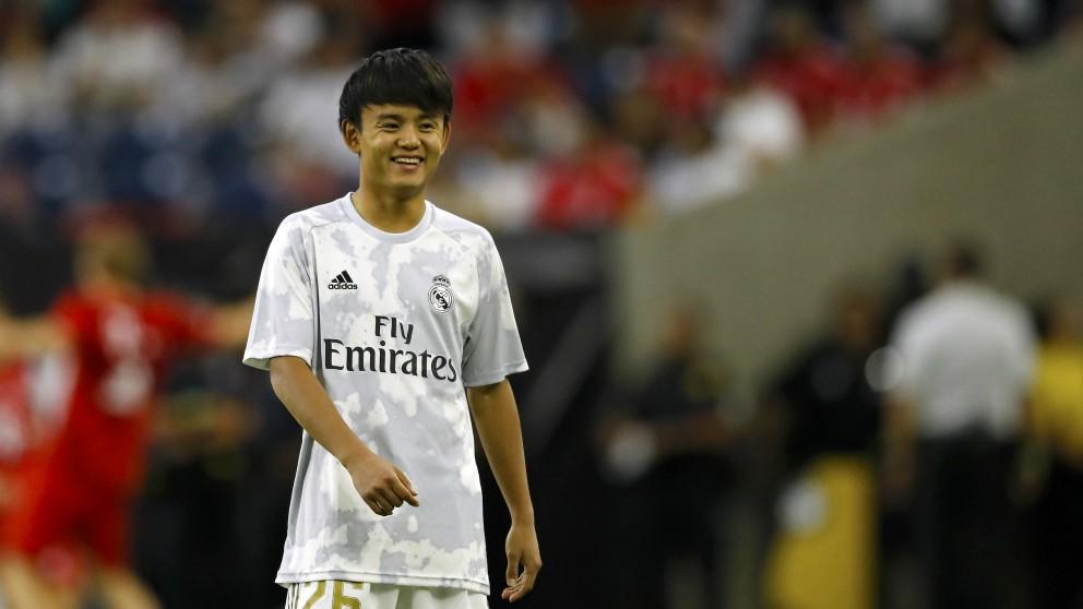Takefusa Kubo, el día de su debut con el Real Madrid. (AFP)