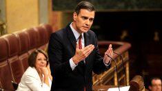 Pedro Sánchez, en un momento de su intervención en la sesión de investidura. (Foto: Francisco Toledo / Okdiario)