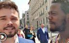 Ndongo junto a Rufián a las puertas del Congreso @Twitter