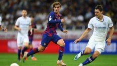 Griezmann, en el partido contra el Chelsea. (AFP)