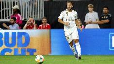 Hazard, durante un partido de pretemporada del Real Madrid. (realmadrid.com)