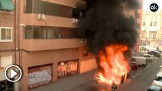 Incendio de un contenedor en Carabanchel.