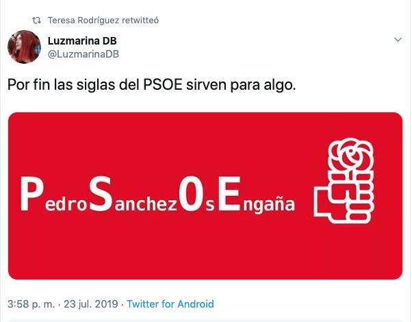 Los críticos recuerdan a Iglesias lo que ocultan las siglas del PSOE: 'Pedro Sánchez Os Engaña'