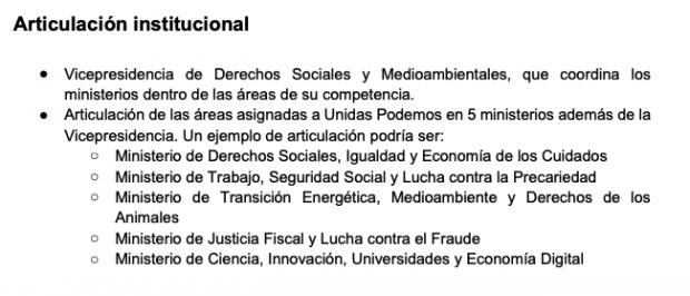 Detalle del documento filtrado por el PSOE