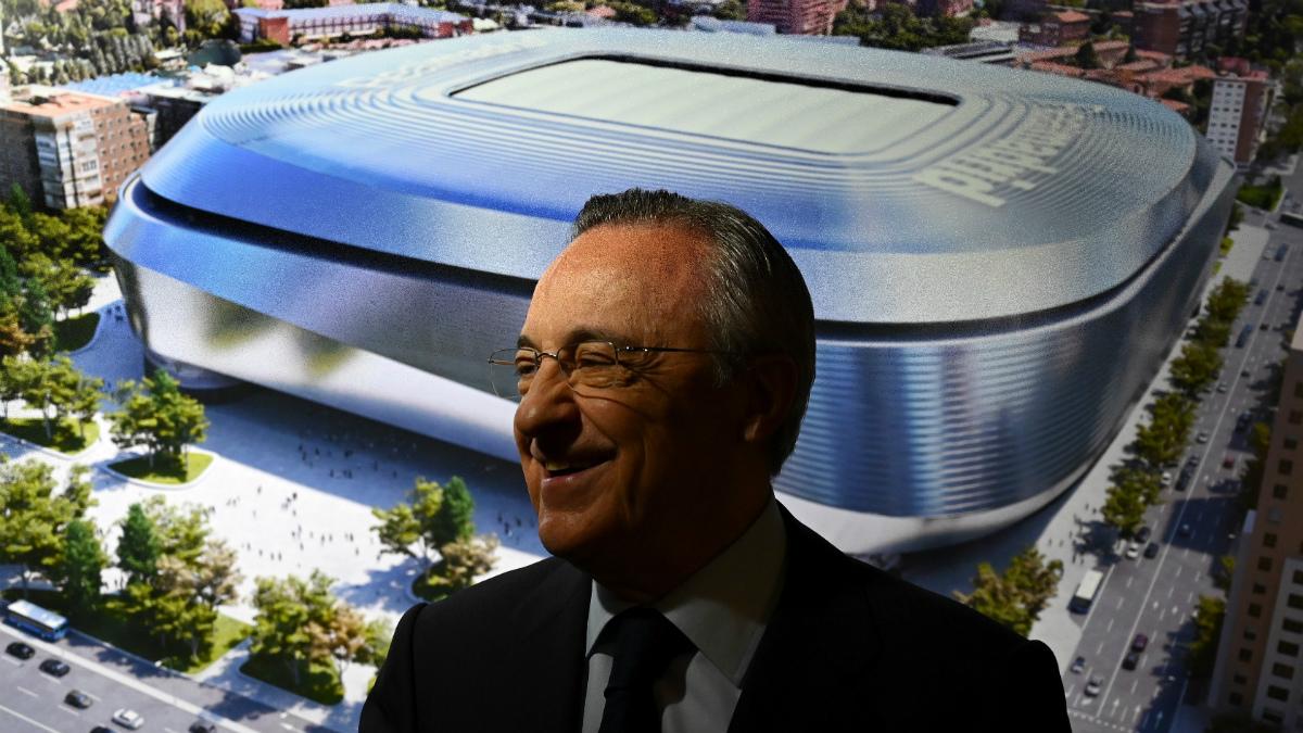Florentino Pérez, durante la presentación del nuevo Santiago Bernabéu (AFP).