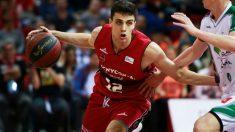 Carlos Alocén durante un partido con el Zaragoza la pasada temporada. (basketzaragoza.net)
