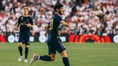 Marco Asensio celebra un gol.