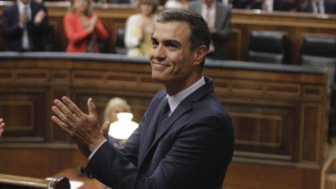 Pedro Sánchez durante la sesión de investidura fallida en el Congreso.