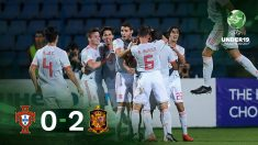 España celebra su triunfo ante Portugal en la final del Europeo sub-19.
