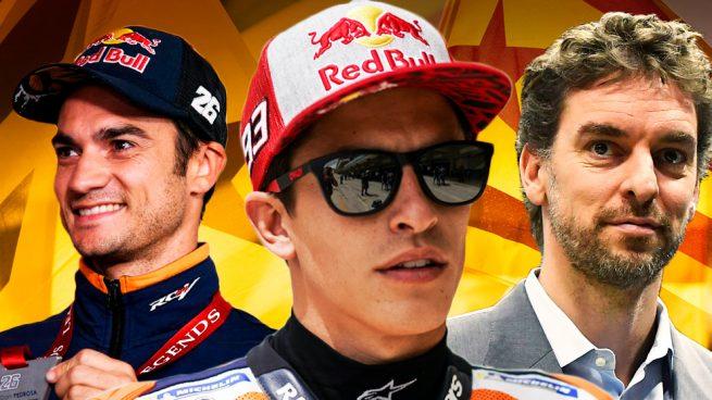 Los campeones del mundo de motociclismo Dani Pedrosa y Marc Márquez, y el jugador de la NBA Pau Gasol.