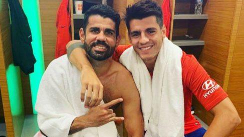 Diego Costa y Morata celebran el 3-7 del Real Madrid – Atlético de la International Champions Cup 2019. (@AlvaroMorata)