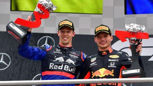 Kvyat y Verstappen subieron al podio en Alemania con dos coches con motor Honda. (AFP)